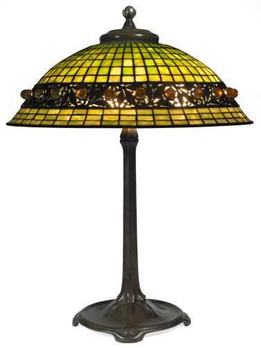 Art glasstiffany tiffany studios geometric table lamp with favrile ballembellishment bronze lamp