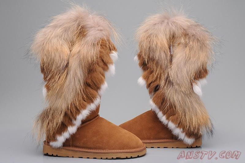 Chestnut Boots Ugg Fox Fur Boots 8688