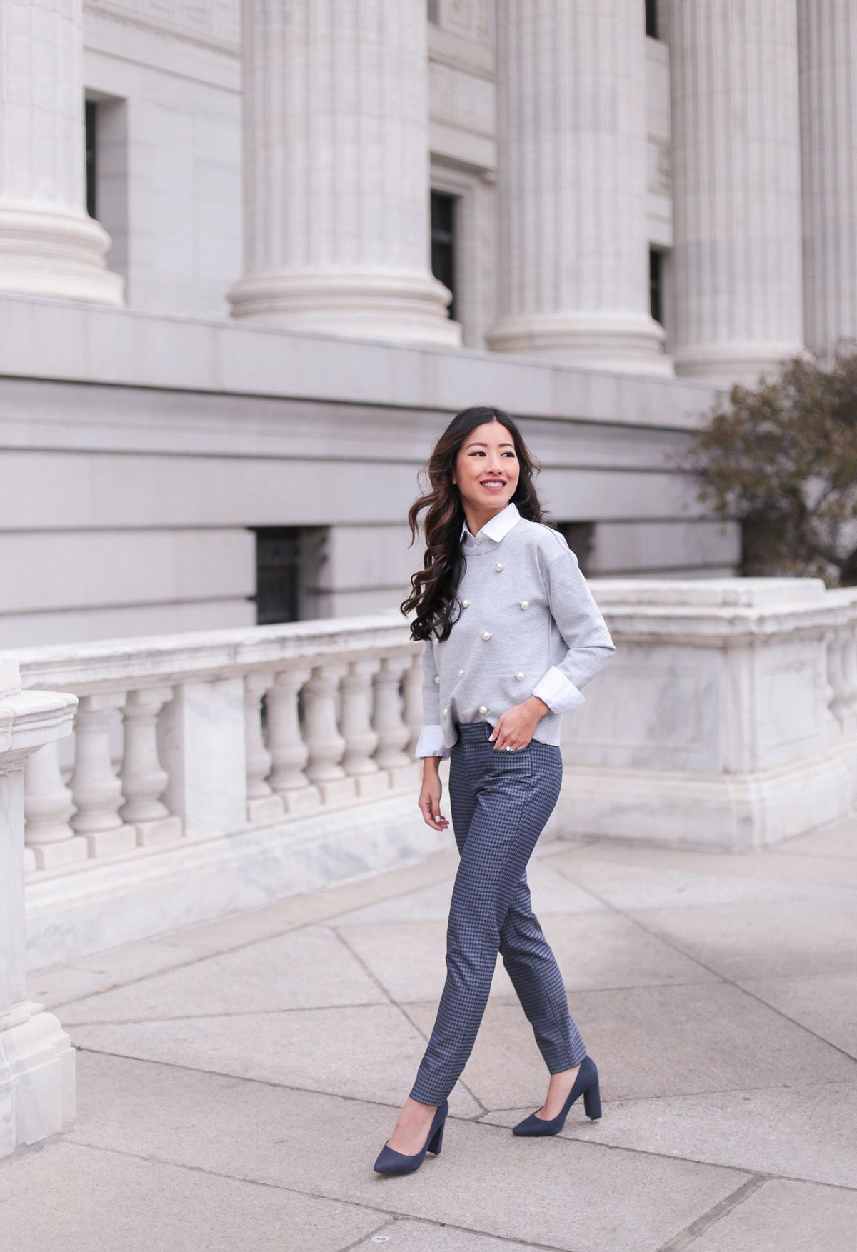 How To Layer Banana Republic Petite Winter Work Outfit Extra