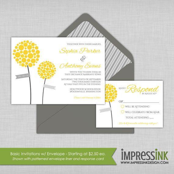 Billy Buttons Wedding Invitation  Pocket Fold Or Flat Card Sample