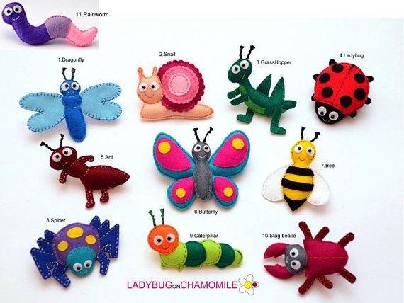 Insects And Bugs Felt Magnets Price Per 1 Item Make Your Own Set Erfly Ant Beatle Spider Grhopper Ladybug Bee Dragonfly Snail