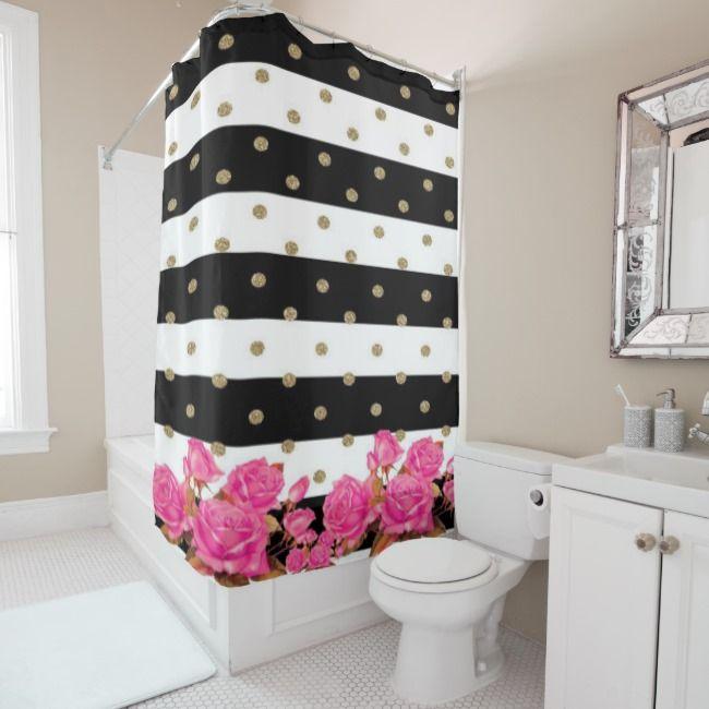 Elegant Black White Stripes Pink Roses Shower Curtain Zazzle Com