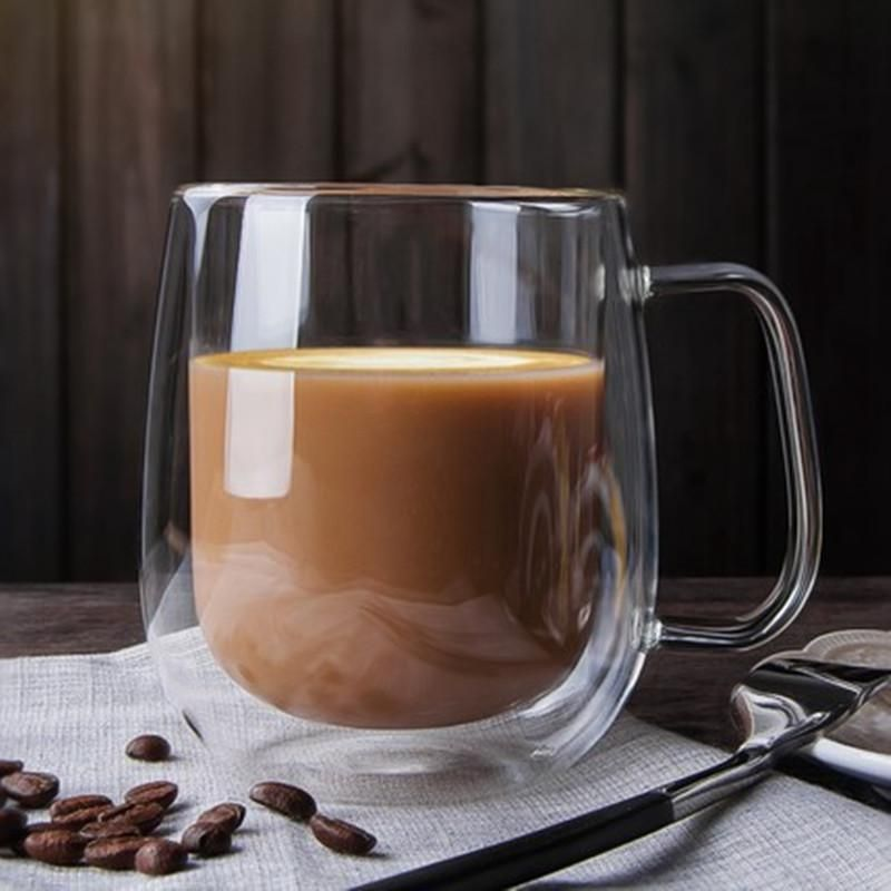 Coffee Mugs Double Handle Drinking Insulation Wall Glass Tea Cup Drink Ware Milk
