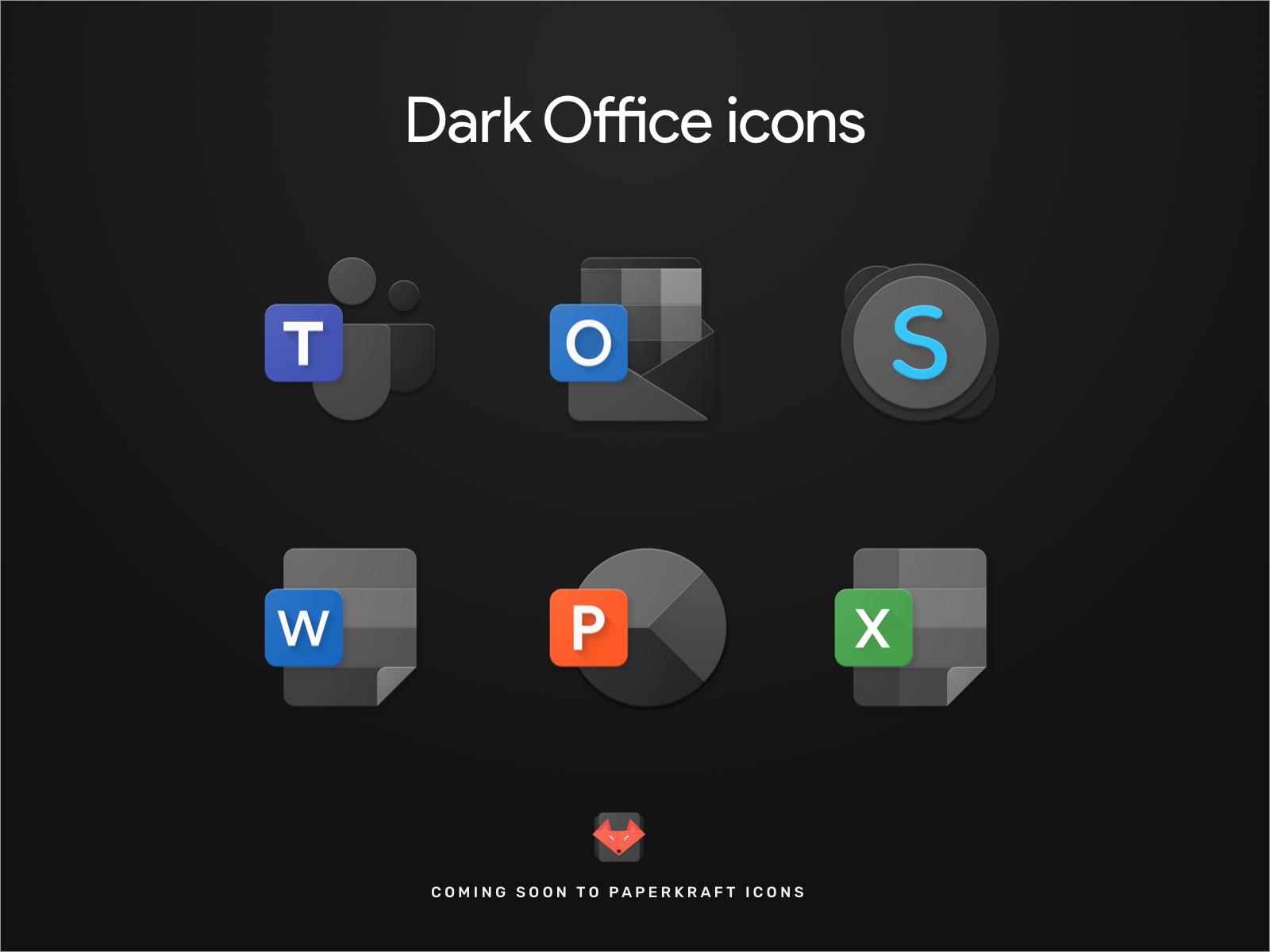 Microsoft Office icons Dark Office icon, Icon