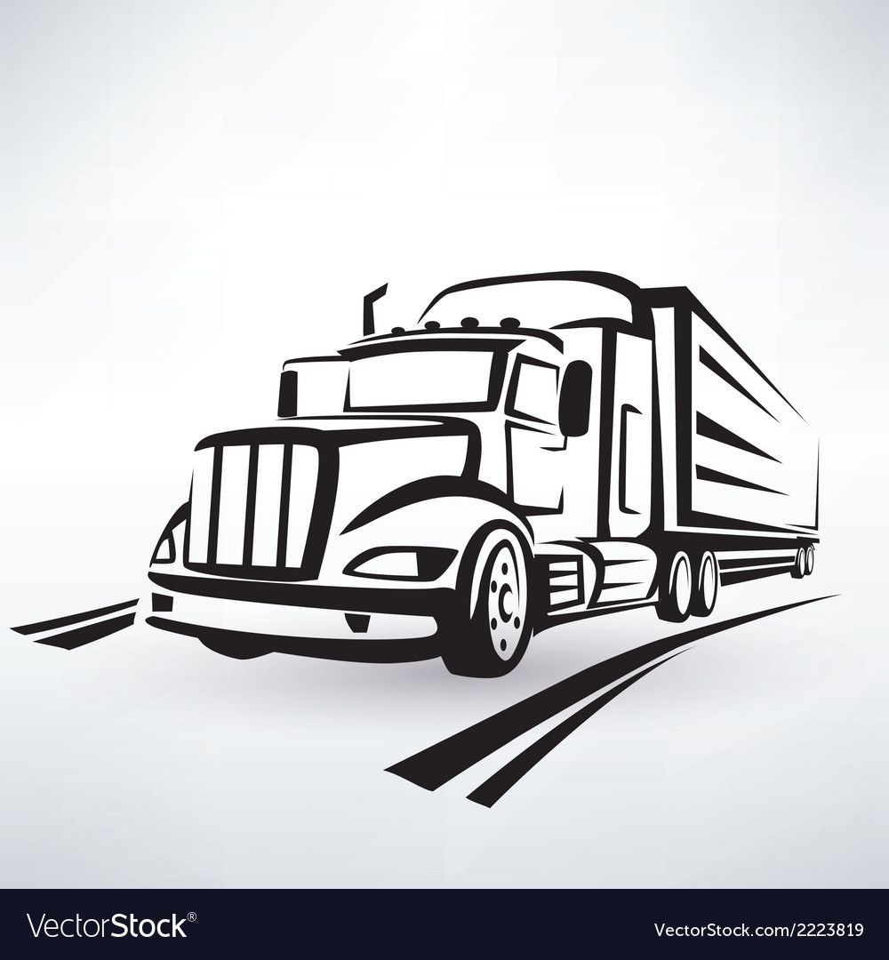 American Lorry Silhouette Truck Outlined Sketch Vector Image On