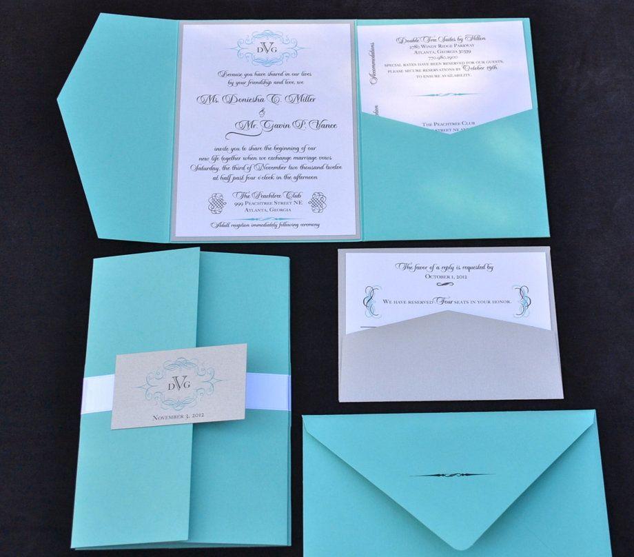 Tiffany Blue Wedding Invitation Pocket Fold Wedding Invitations Tiffany Blue Wedding Invitation Blue Wedding Invitations
