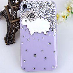 $4.20 Delicate Shining Rhinestones 3D Goat Design Plastic Hard Case Cover for iPhone 4/4S (Purple)