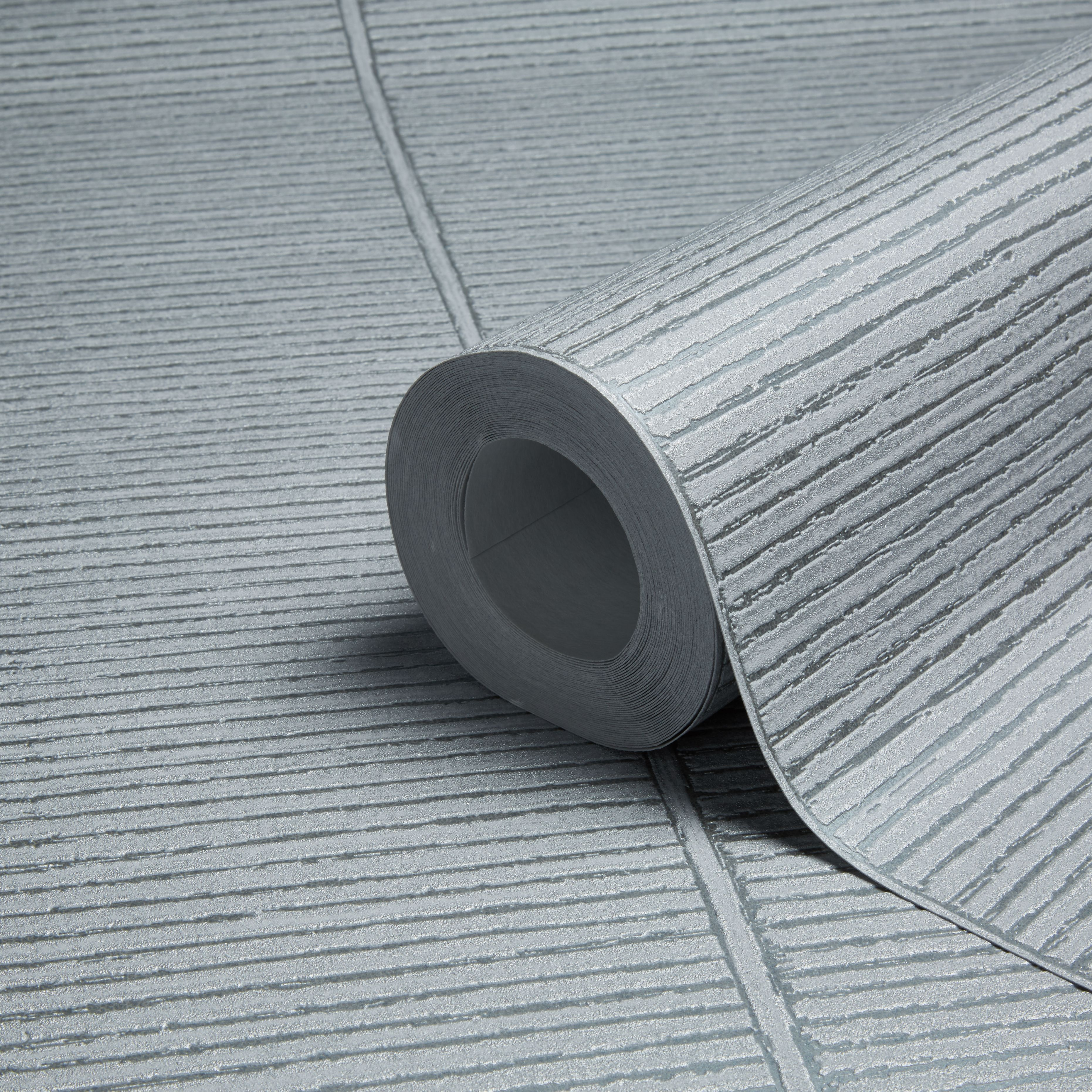 AS Creation New England Texture Grey Silver Stripe Wallpaper