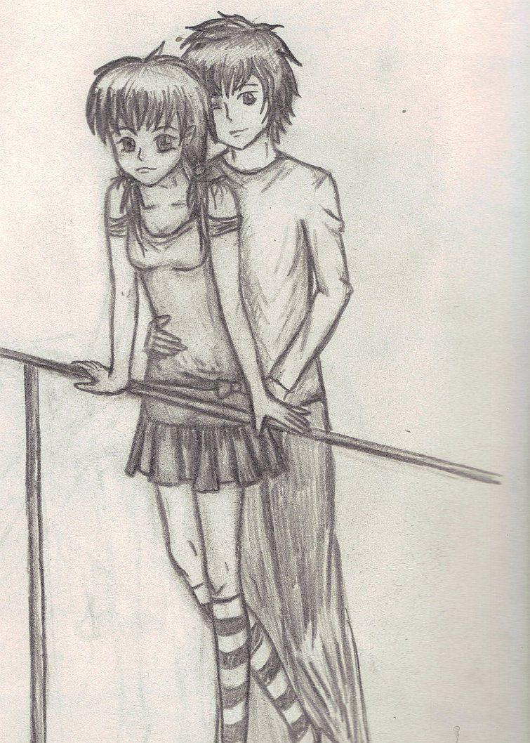Pencil art love couple image