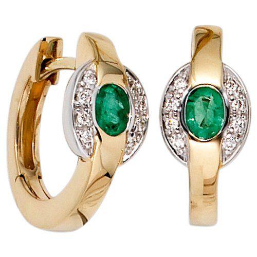 JOBO Hoop Earrings 585 Yellow Gold Partly Rhodium-Plated with 16 Diamonds 2 Emerald Earrings Jobo http://www.amazon.co.uk/dp/B00E7N1618/ref=cm_sw_r_pi_dp_7-ZKub1HM5BFD