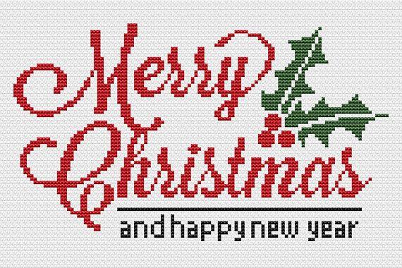 symbols pattern CROSS STITCH Digital PDF Download Merry Christmas grid colours