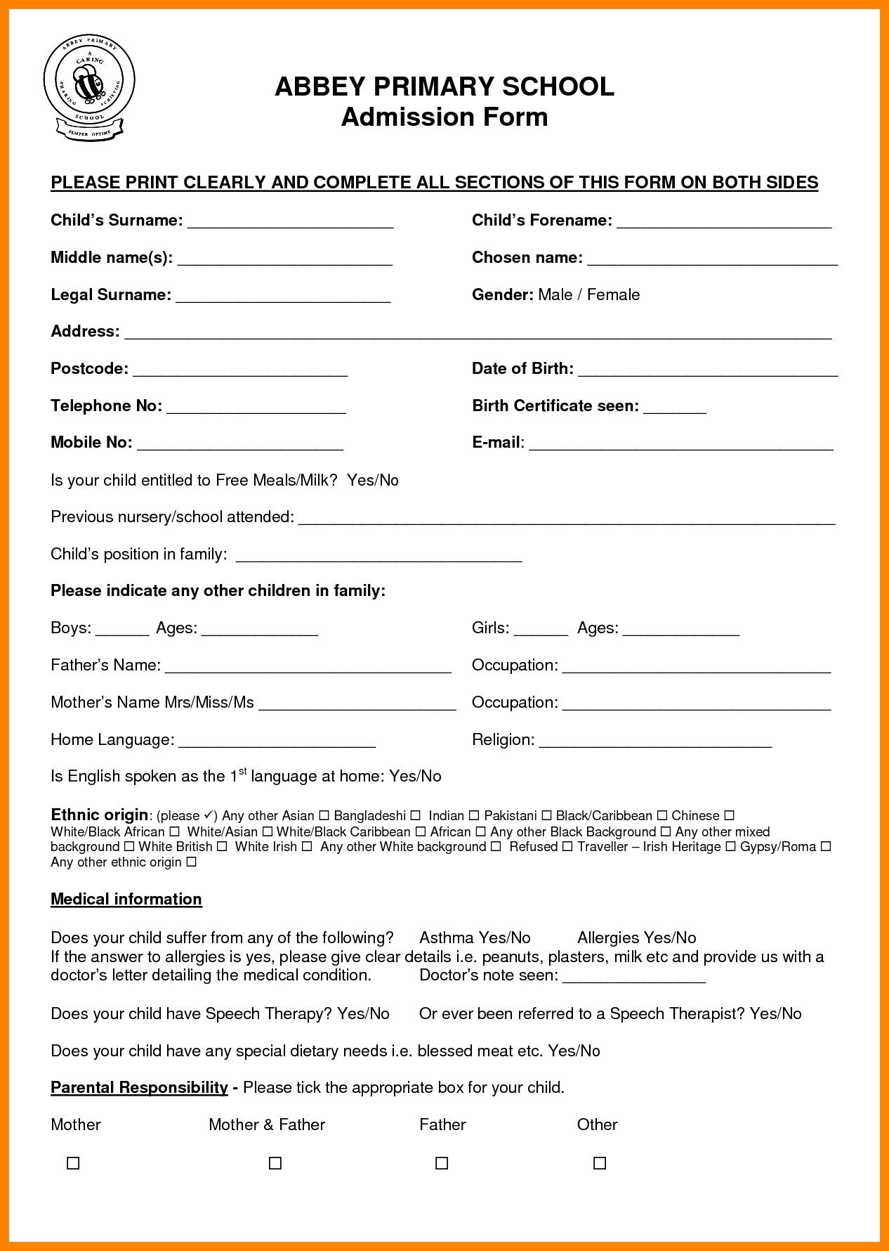 Sample Application for School Certificate New 11 School Admission ...