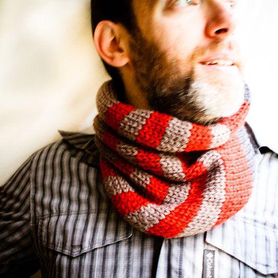 Knit Cowl Striped Scarf Neckwarmer Unisex Women Men  by NeekaKnits, $45.00