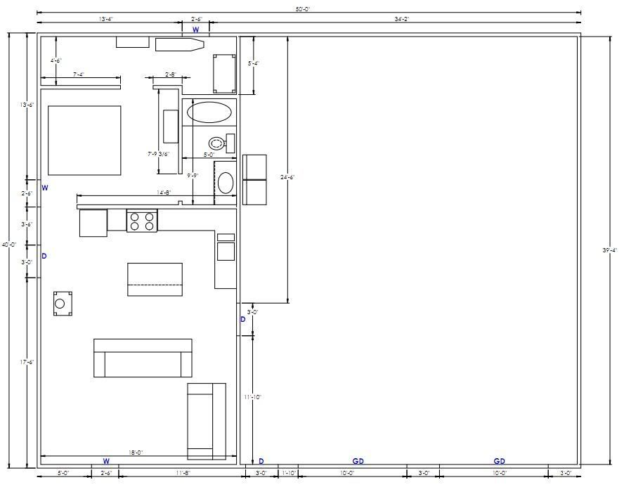superior shop apartment floor plans #3: How can I price out this shop/apartment plan? ETA: Critique my layout