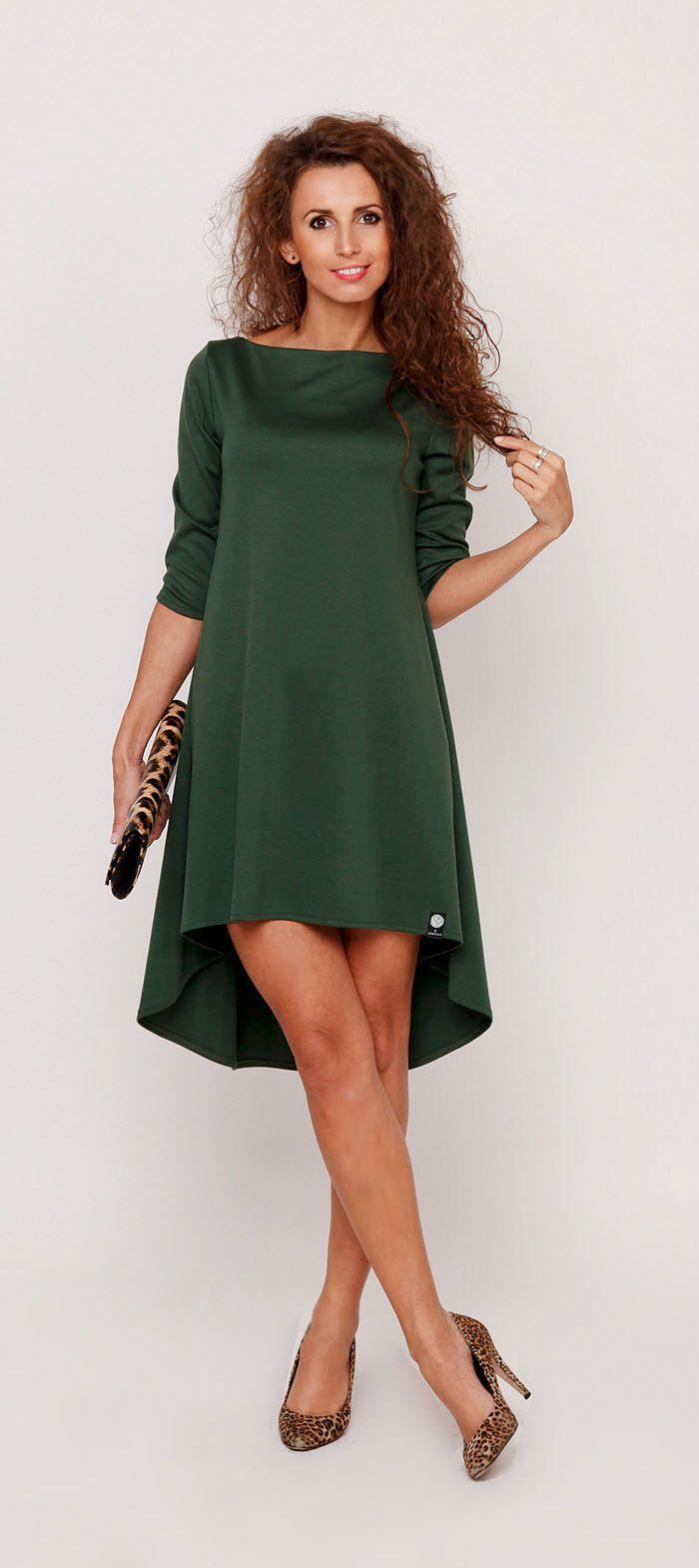 86ba790a8bdc6a Sukienkowo.pl - Sukienka trapezowa asymetryczna oversize MELISA butelkowa  zieleń Szycie, Sukienki, Styl