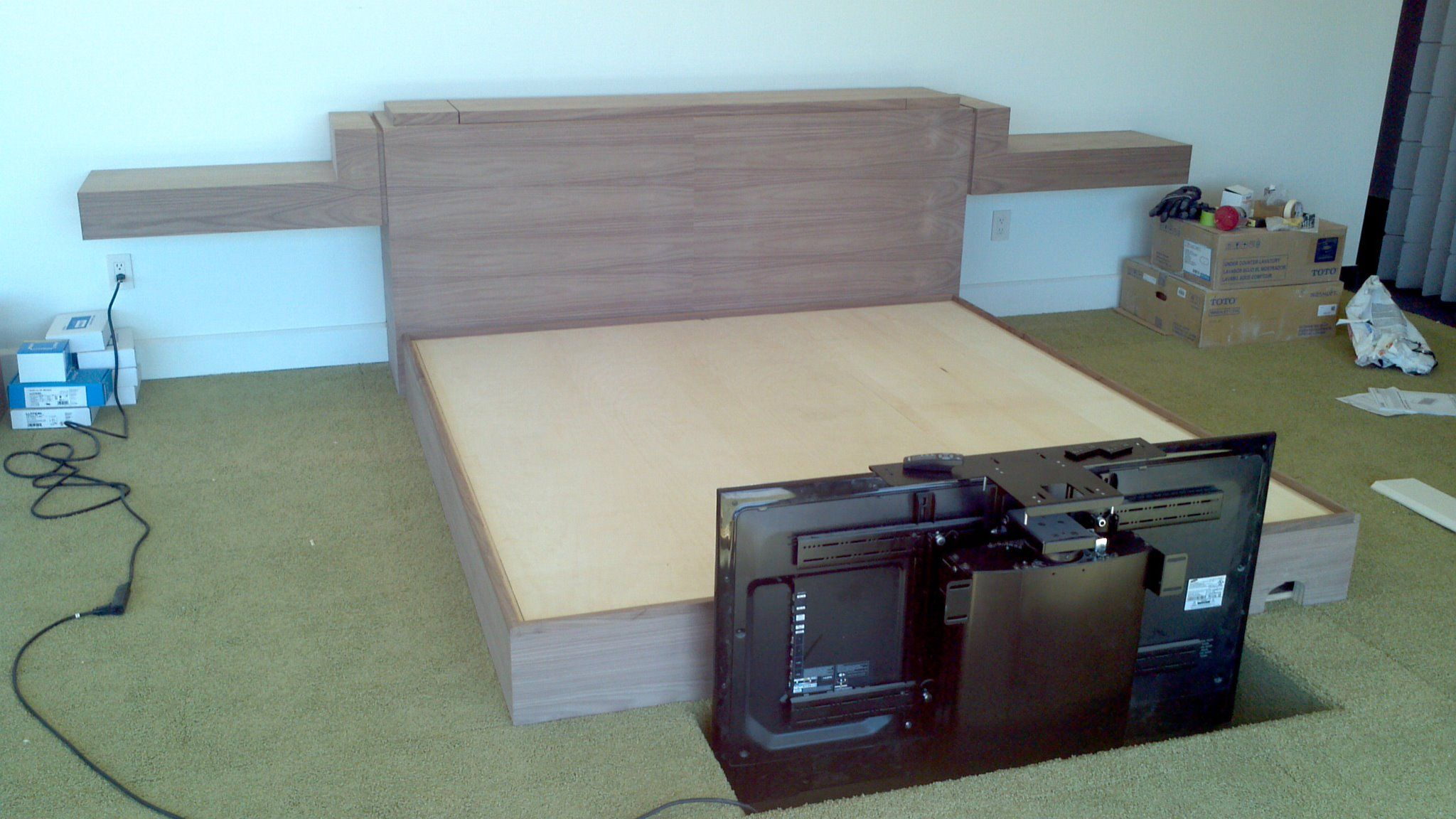 Uncategorized Diy Tv Lift black walnut king bed with 50 tv lift in footboardwhich isnt built yet
