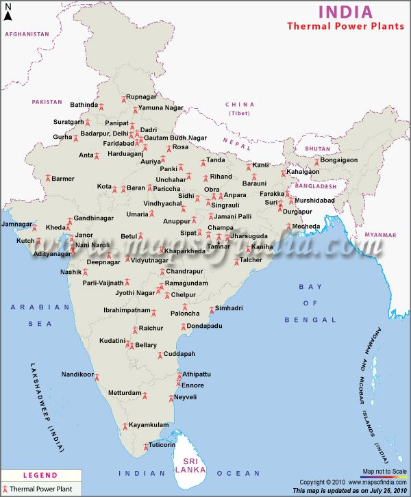 Major Thermal Power Plants depicted in a map. | India ...