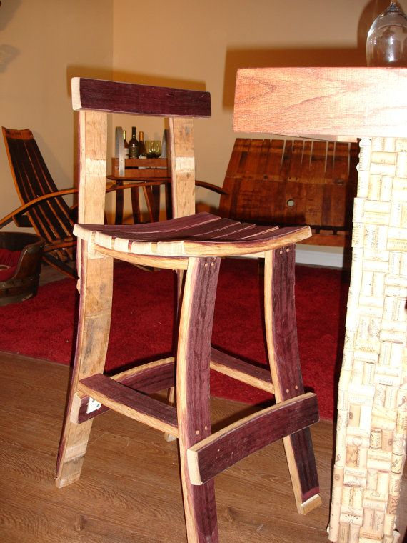 Wine Barrel Bar Stool W Back By Wineyguys On Etsy 175 00