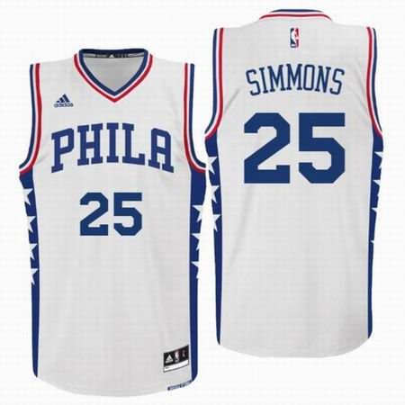 810df79c 2016 NBA Philadelphia 76ers Draft #25 Ben Simmons Home White Swingman Jersey