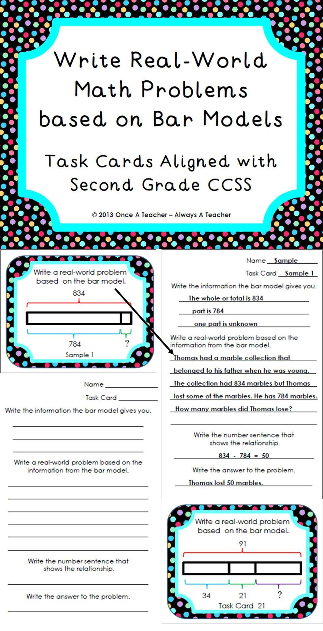 Write Real-World Math Problems based on Bar Models - Task Cards | My ...