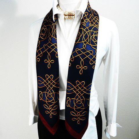 Authentic Vintage Hermes Silk Scarf Vinci Navy Gold and Maroon ... d47fec83c3c
