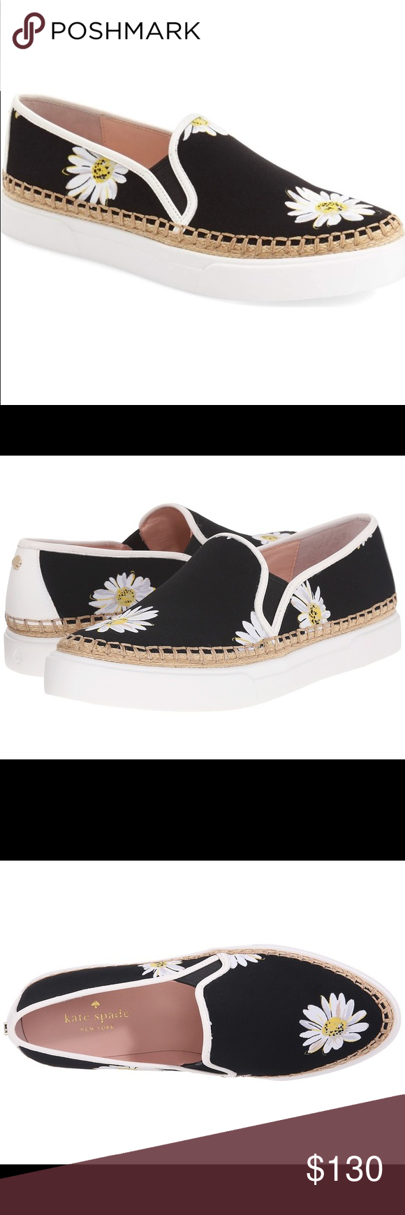 Kate Spade Cory blk White daisy slip on shoes 100% authentic! New in box, made in China. Size: 5.5M, color: blk/white, material: leather and textile upper, retail: $200 kate spade Shoes Flats & Loafers
