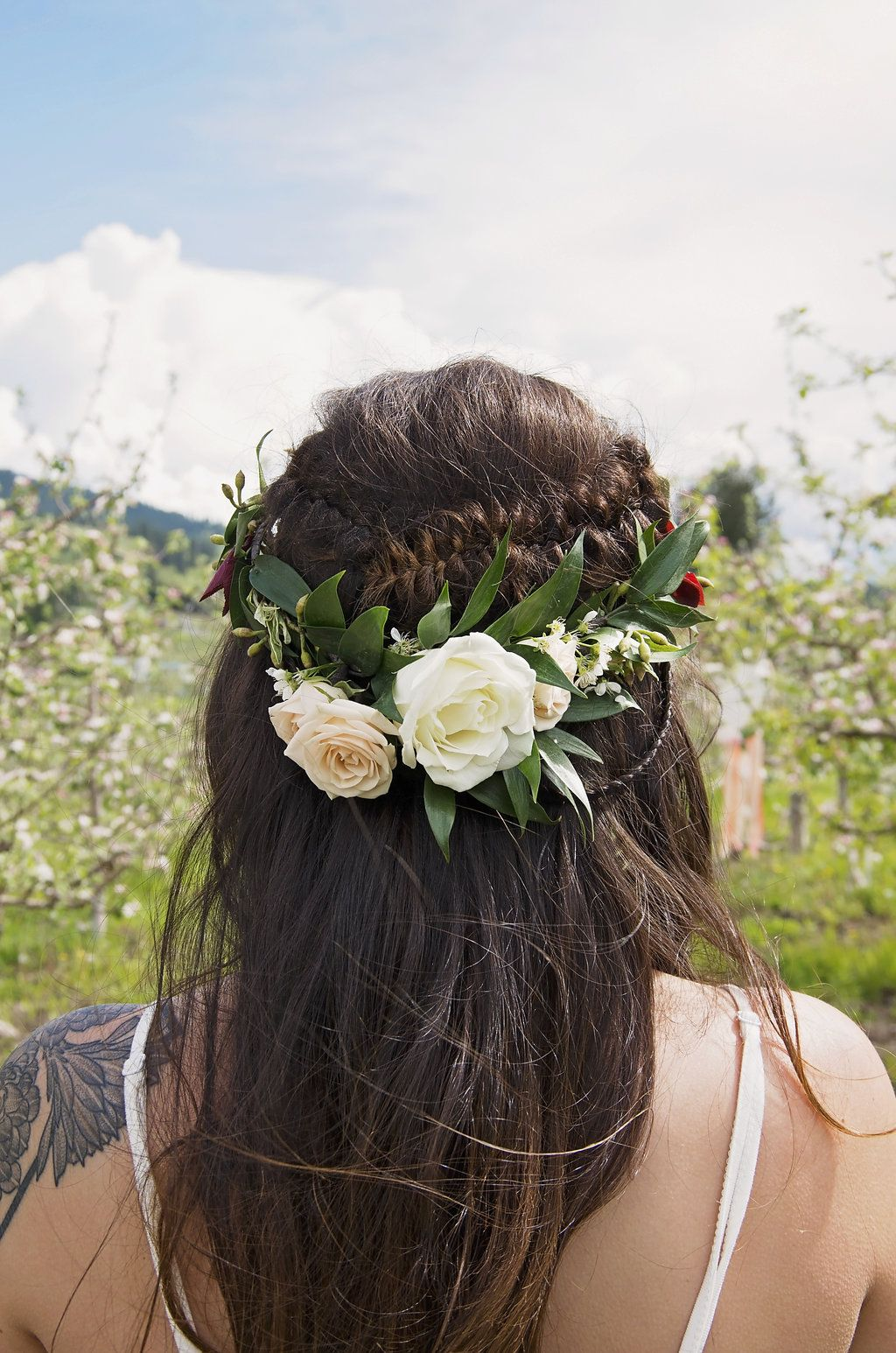 Boho Bridal Flower Crown Featuring Italian Ruscus Spray Roses And Cherry Blossoms Photo Credit Vanessa Lee Imagery
