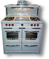 1953 Wedgewood Double Oven Vintage Stove, in Almond Porcelain,with Red Knobs and Handles