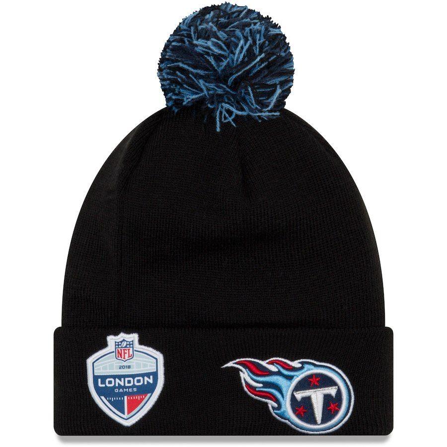 5dd04f29ff6 Men s Tennessee Titans New Era Black Union Jack Bobble Cuffed Knit Hat with  Pom