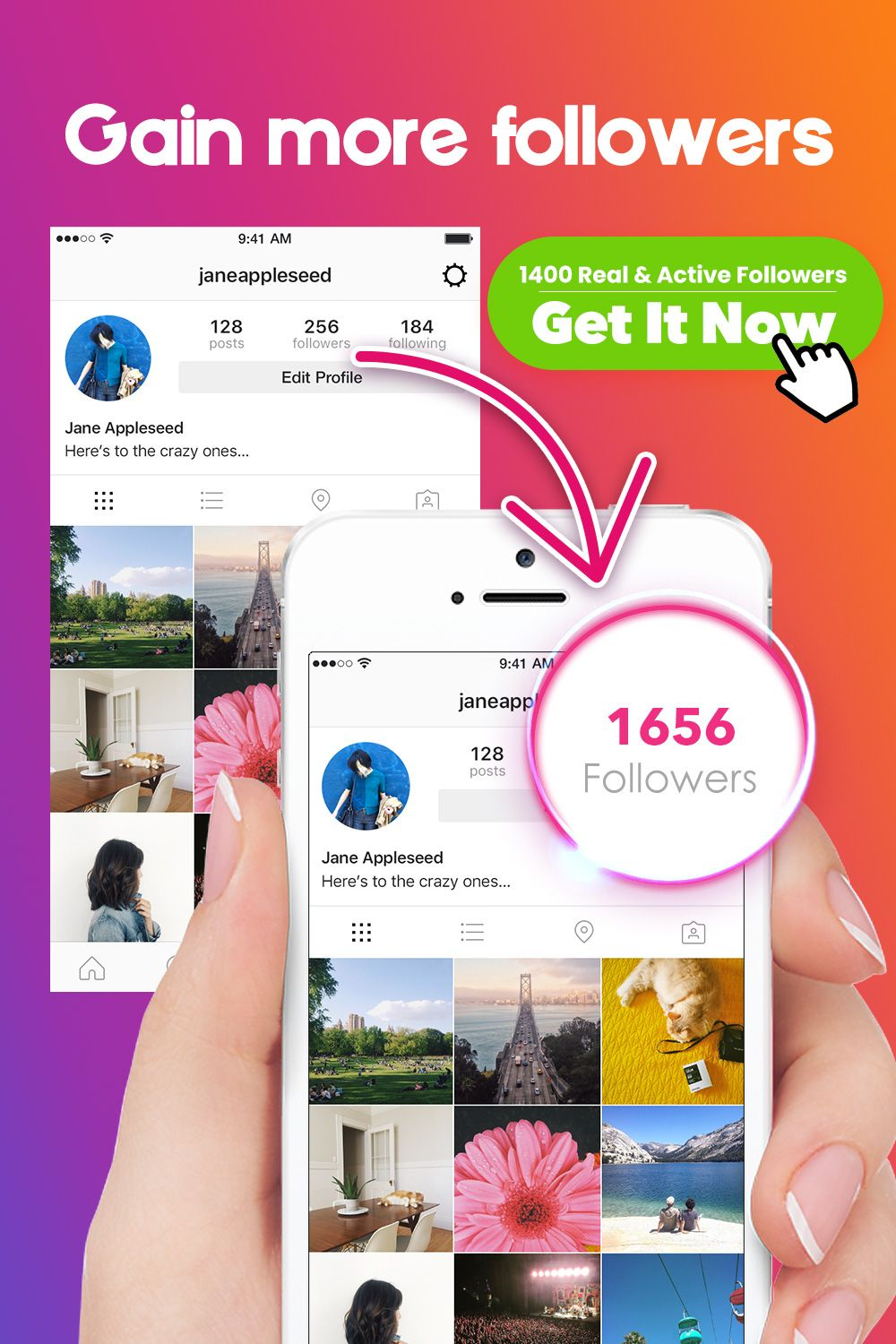 Gain 100% real & organic followers for your Instagram