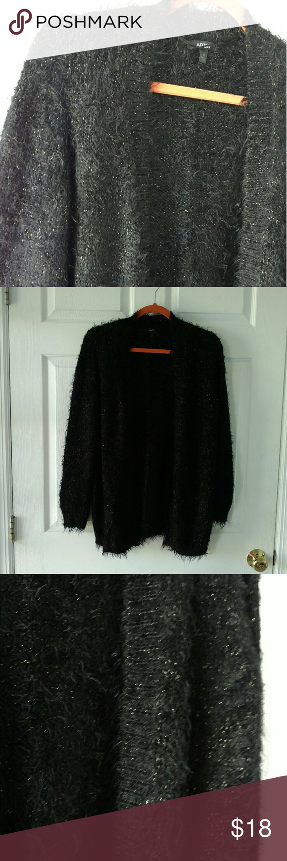 Fuzzy Black and Gold Cardigan So soft! There are gold sparkles all ...