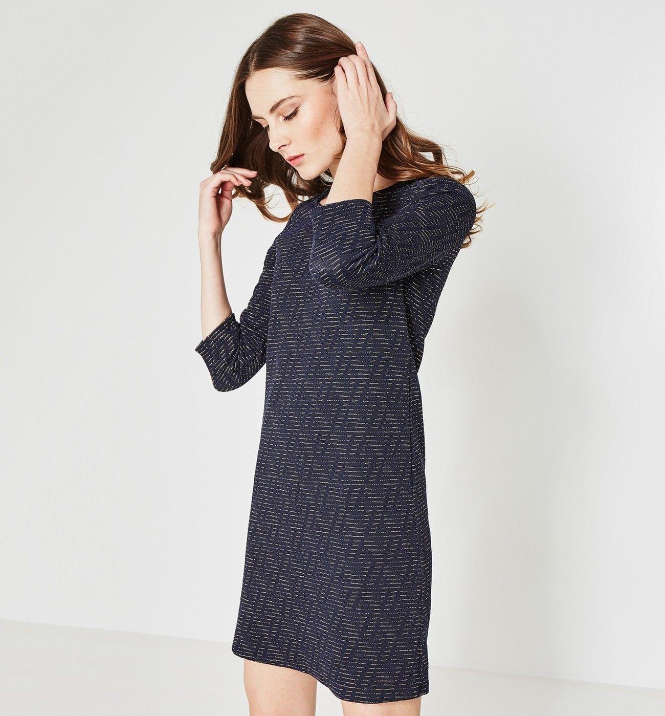 70f1b3513271e Robe effet jacquard Femme - Imprimé marine - Robes - Femme - Promod ...