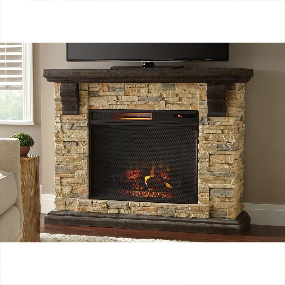 highland 50 in faux stone mantel electric fireplace in tan tan faux stone electric. Black Bedroom Furniture Sets. Home Design Ideas