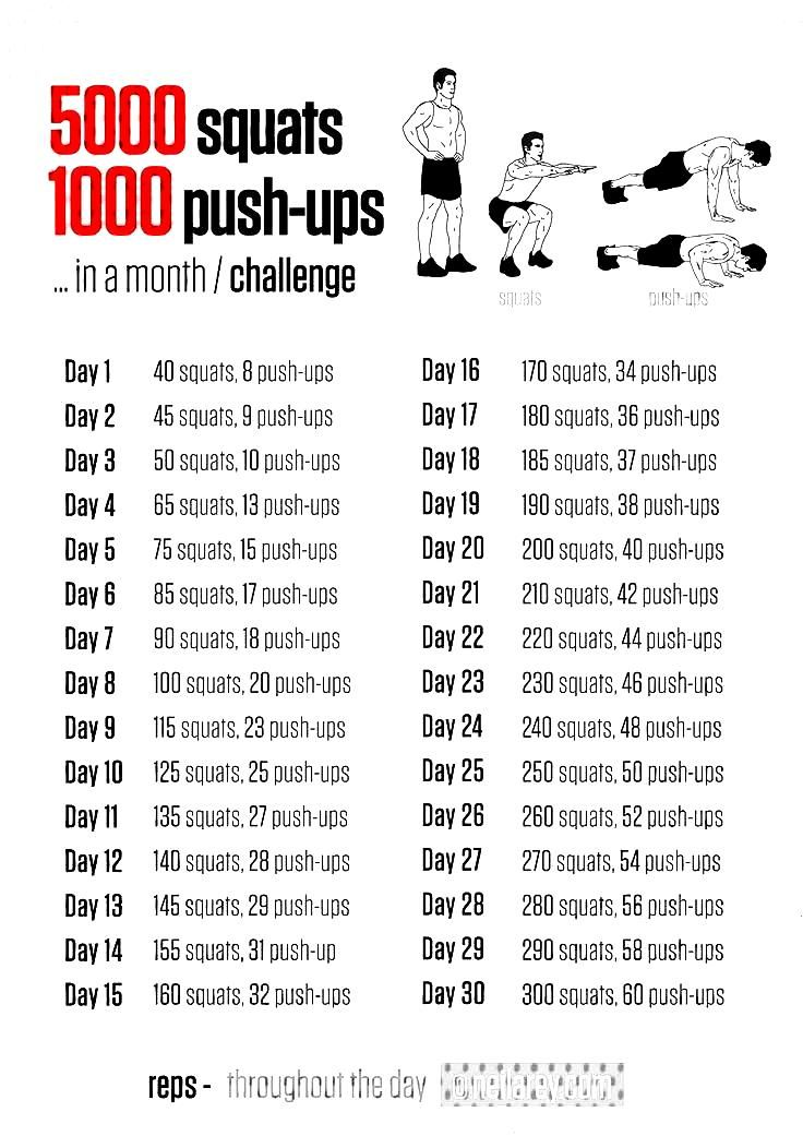 5000 squats and 1000 push u...