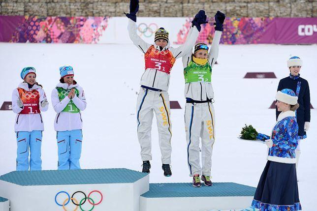 Bronze! Ida Ingemarsdotter and Stina Nilsson - Cross-country skiing at the 2014 Winter Olympics, Women's team sprint.