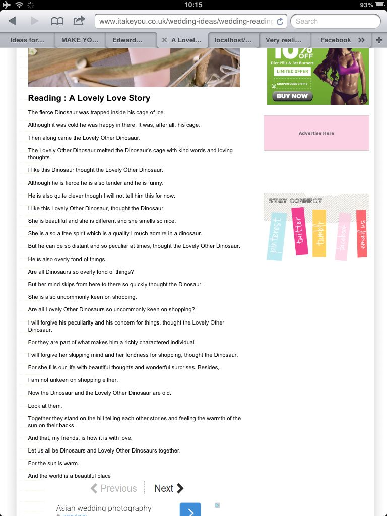 The Lovely Dinosaur Wedding Reading Poem Or Songs Pinterest