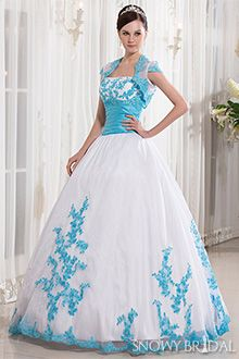 White Wedding Dress With Blue Trim And Dresses Sky Bridal Gown