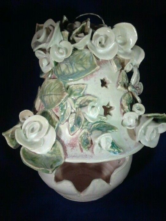 Wheel Thrown And Hand Built Rose Tea Light By Vintage Garden Pottery