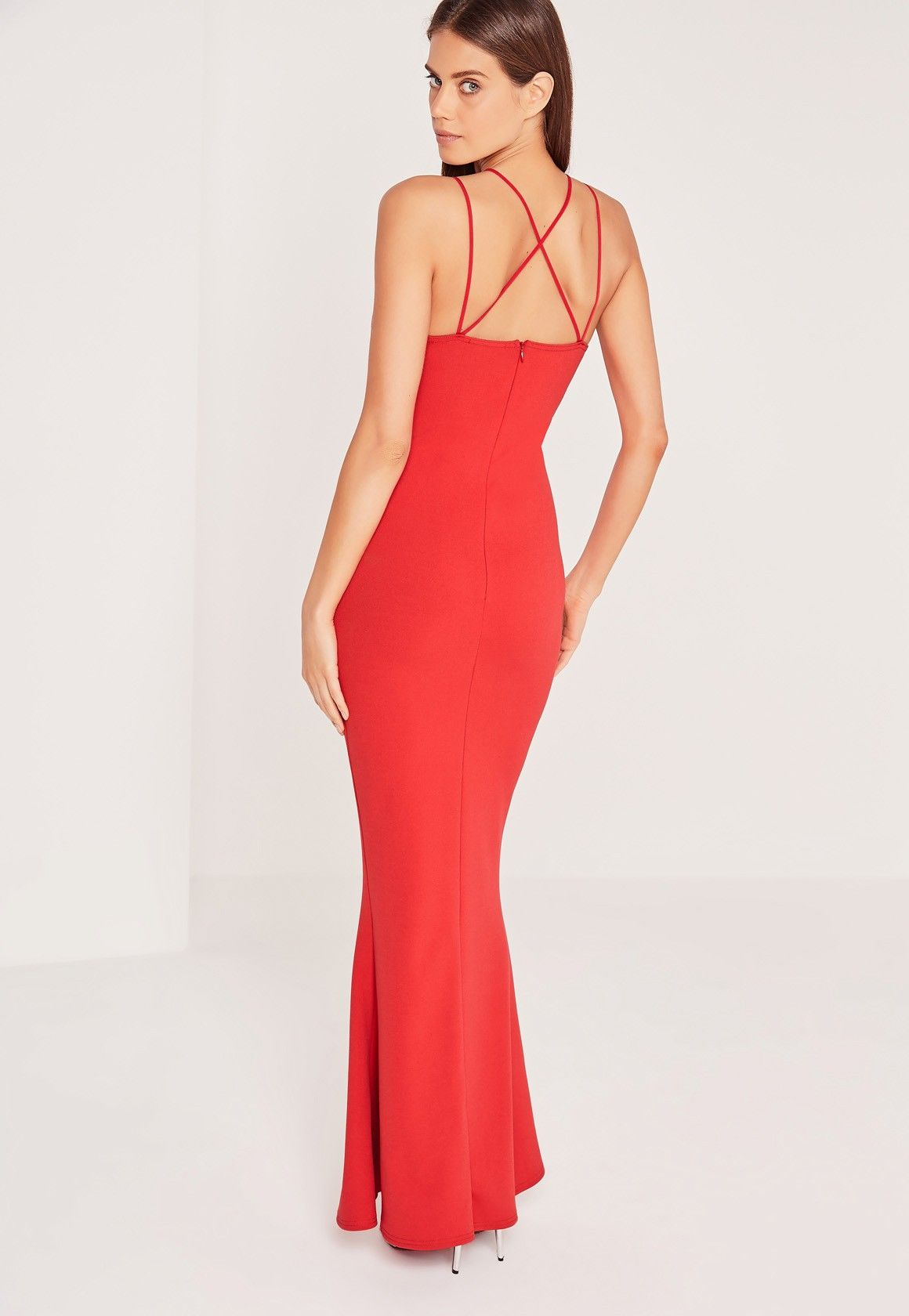 Missguided - Split Front Strappy Fishtail Maxi Dress Red   Ball ...