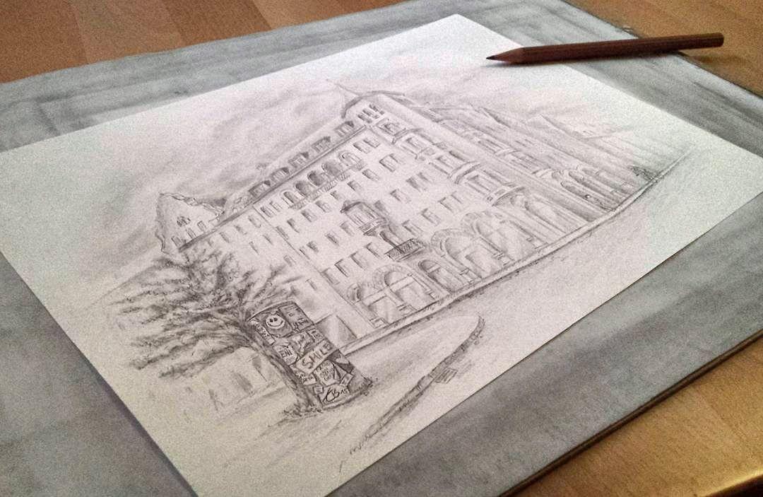 Haus zeichnen lernen Fassade Hauswand Schaufenster