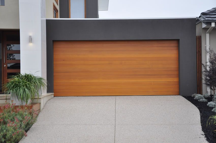 Architecture beautiful modern garage with cedar wood and for Cedar wood garage doors price