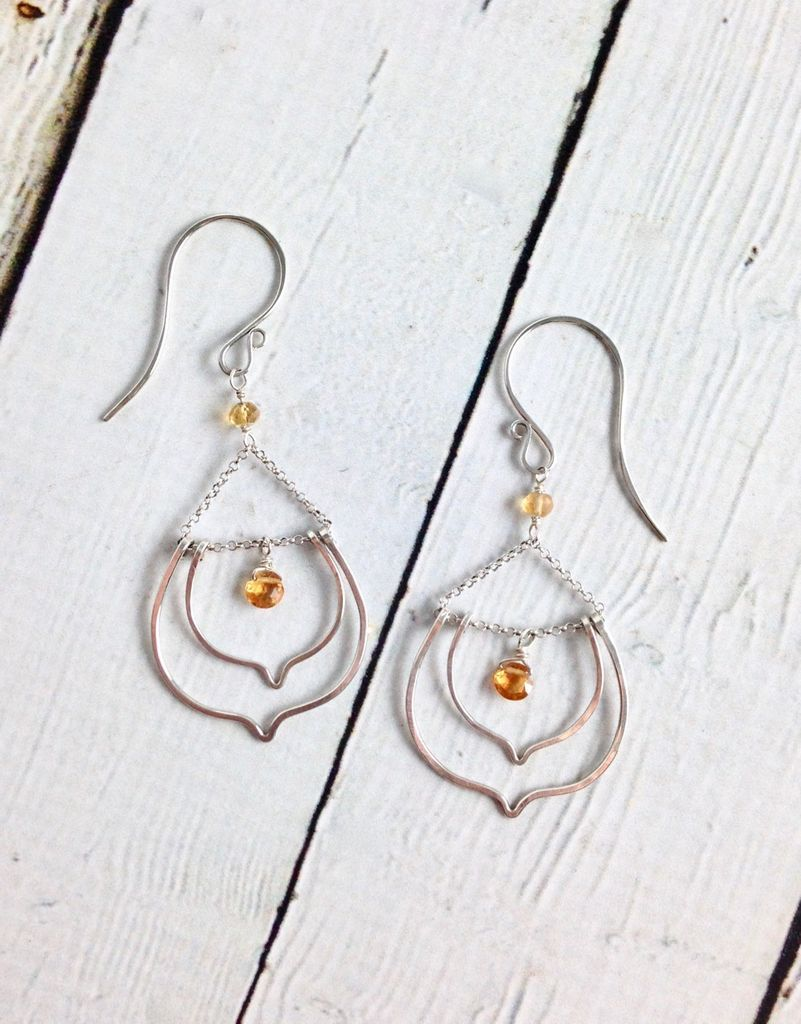 Handmade Silver Lotus Earrings with Drops Citrine (With