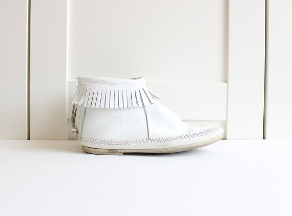 Vintage Fringe Boots / White Leather Boots / by myvintagecrush ...