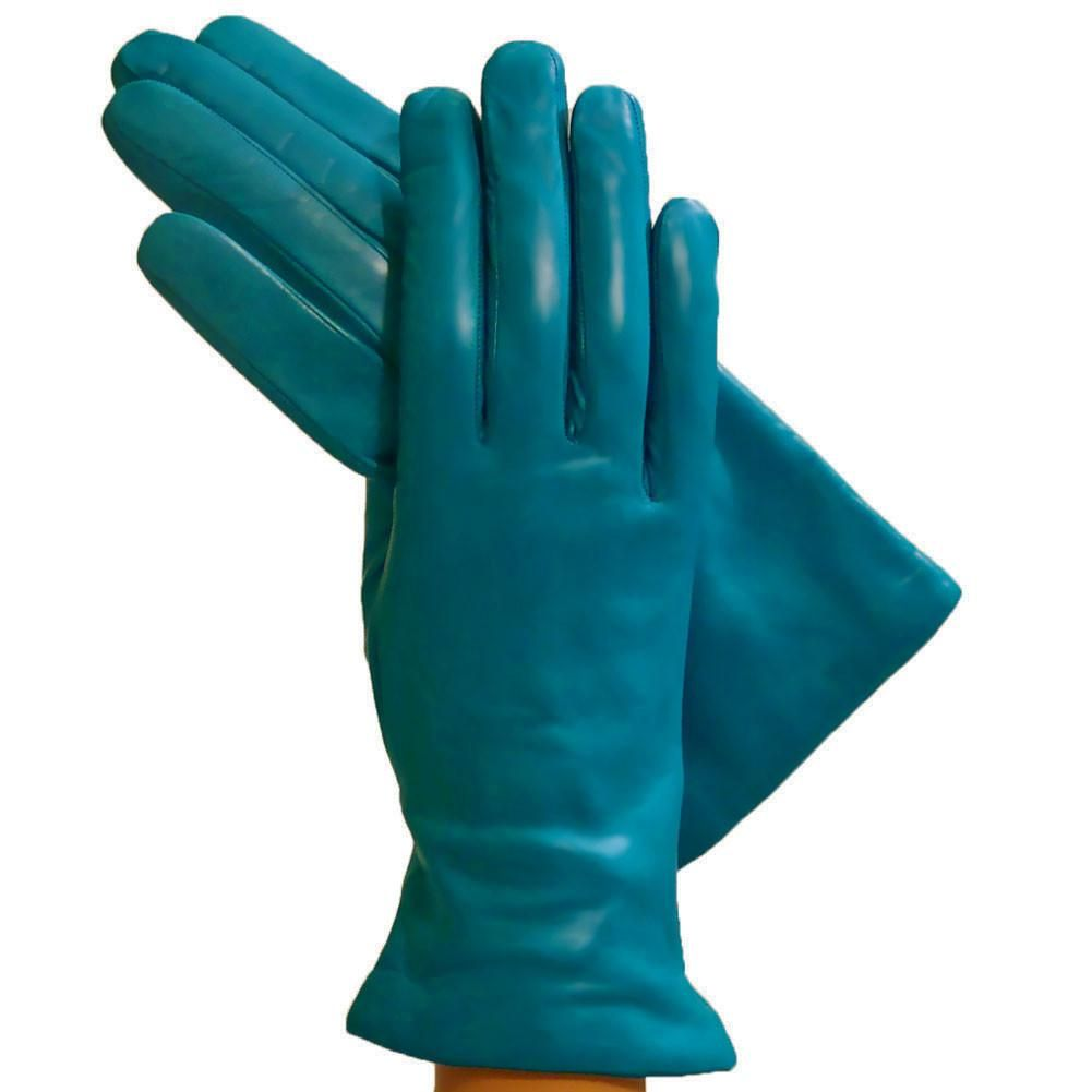 Turquoise Simple Leather Gloves, Lined in Cashmere