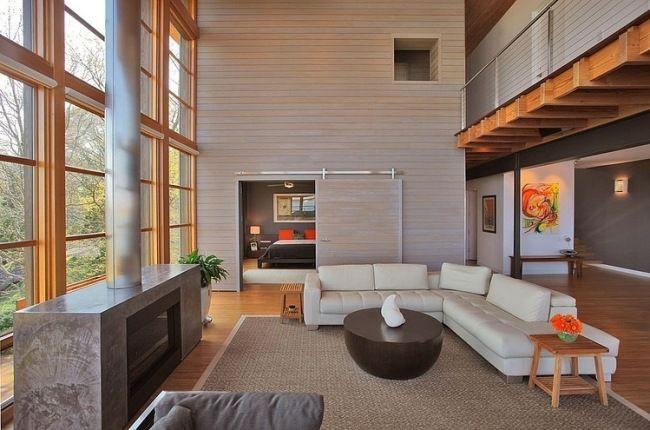 wohnzimmer schiebetür scheune stil neutrale farben Anbau