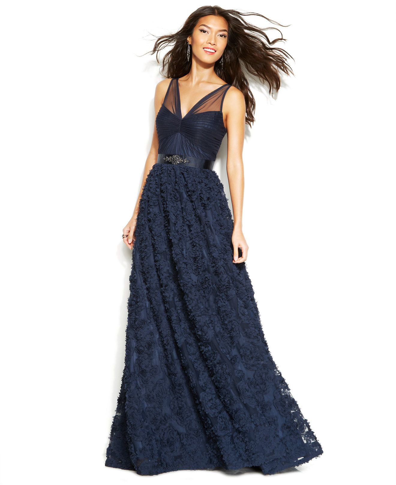 Adrianna Papell Floral Embroidered Illusion Gown - Dresses - Women ...