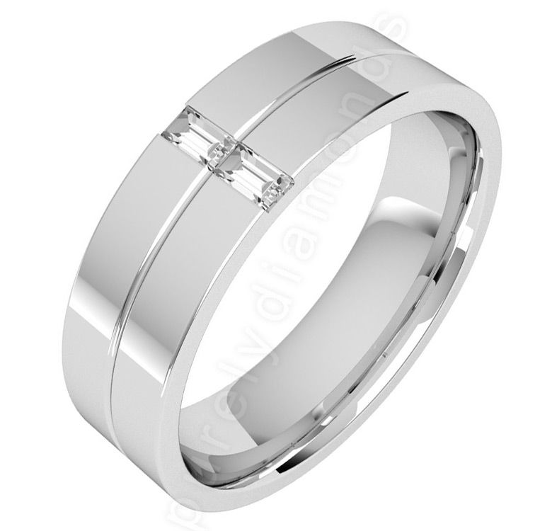 Pdwg060w 18ct white gold gents 6mm flat top courted for Mens wedding rings baguette diamonds