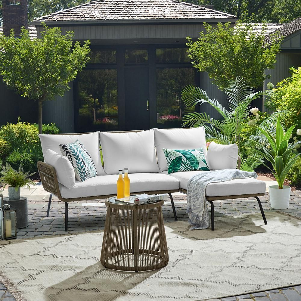 Barton 3 Piece L Shaped Rattan Outdoor Patio Sectional Furniture Set With White Cushioned Seat An In 2020 Sectional Patio Furniture Patio Sectional Sectional Furniture