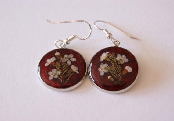 Earrings, Resin Jewelry, Real flower Jewellery, Australian Flower,Geraldton Wax, Floral Design Jewelry, Botanical Earrings,
