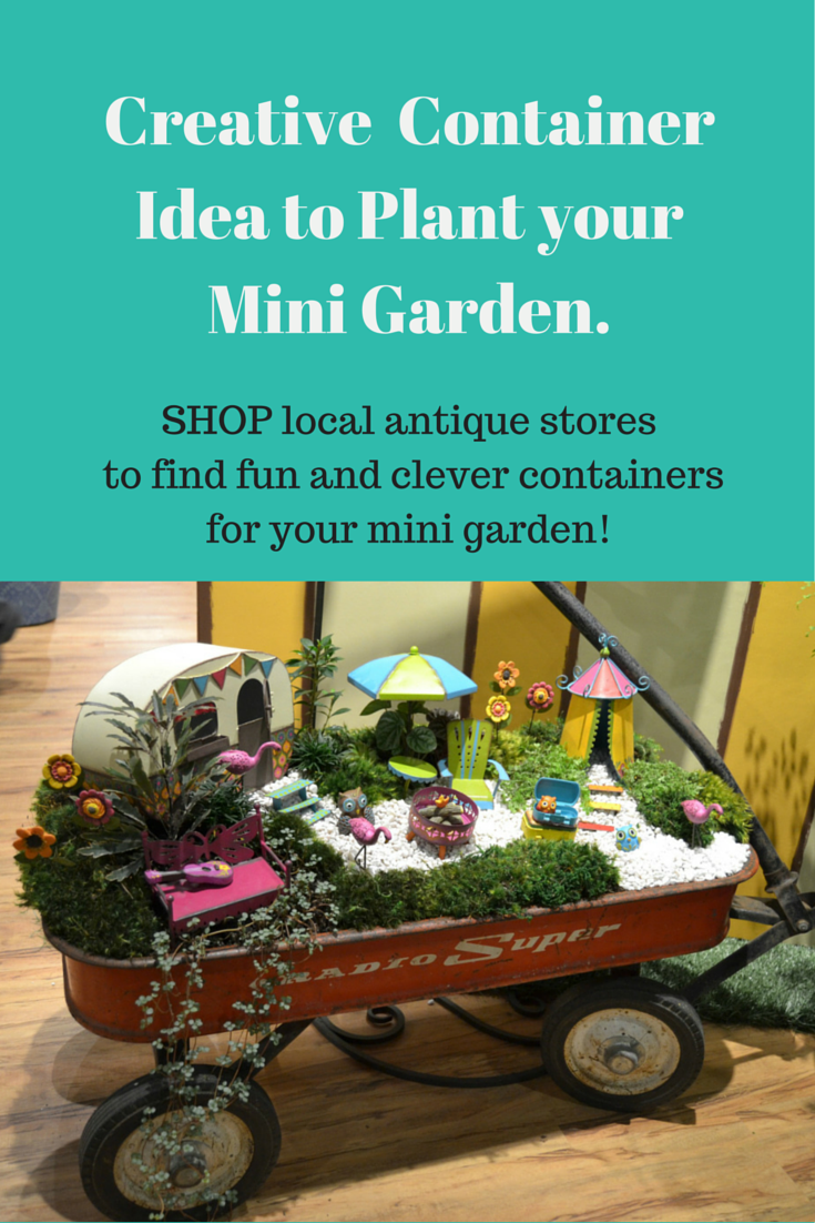 fairy garden ideas miniature gardening container idea with a vintage red wagon shop antique. Black Bedroom Furniture Sets. Home Design Ideas